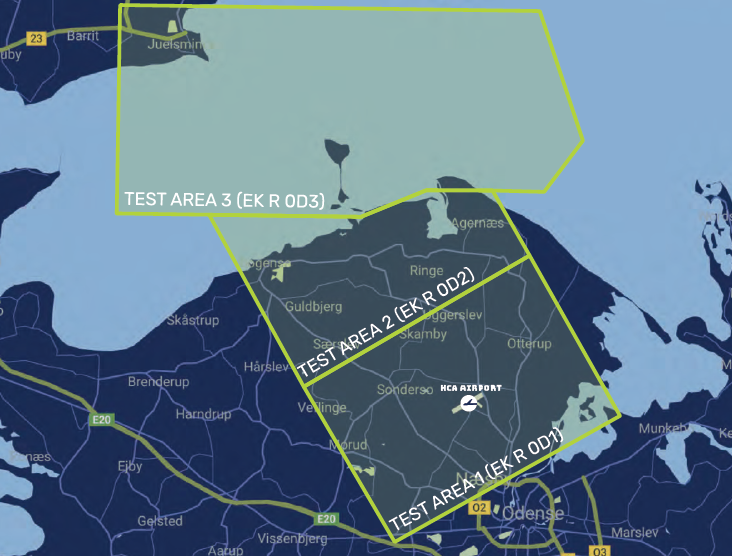 Graphics: OD 1, OD2 and OD3 are the combined test areas, where OD3 is the area for BVLOS testing over sea